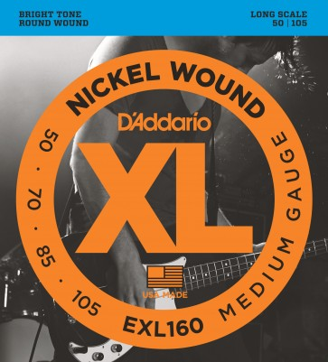Pack of 3 sets of D'Addario EXL160 Nickel Wound Bass Guitar Strings, Medium, 50-105, Long Scale