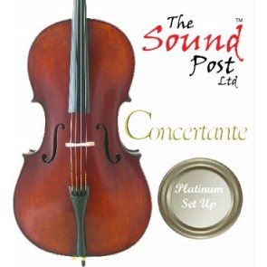 Concertante CI020-78-P Antiqued Stradivari 7/8 Size (Seven Eighths Size) Cello with Platinum Set-up