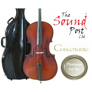 Concertante CI020-44-P Antiqued Stradivari 4/4 Size (Full Size) Cello Outfit with Platinum Set-Up