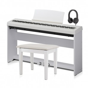 Kawai ES110W Slimline Digital Piano Package in White (Includes Stool,  Stand, Pedal board and Headphones)