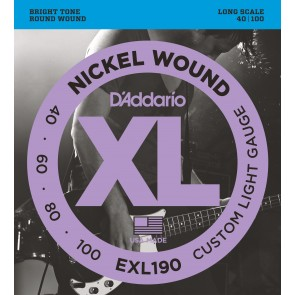 Pack of 3 sets of D'Addario EXL190 Nickel Wound Bass Guitar Strings, Custom Light, 40-100, Long Scale