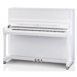 Kawai K300SL-SLWHP Upright Piano in White Polyester with Silver Hardware